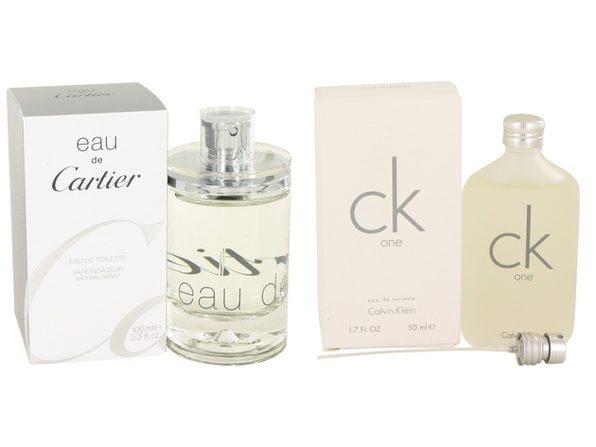 Gift set  EAU DE CARTIER by Cartier EDT Spray (Unisex) 3.3 oz And  CK ONE EDT Pour/Spray (Unisex) 1.7 oz