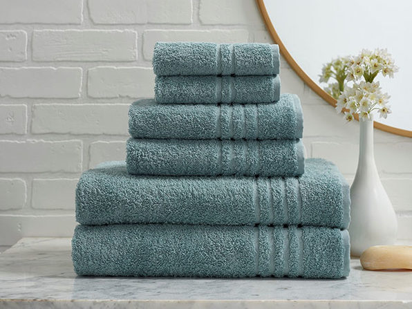 Turkish Cotton 6-Piece Ensemble Towel Set (Aqua)
