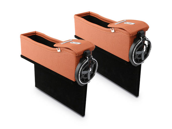 Leather Console Side Pocket Organizer 1-Pair Light Brown - Product Image