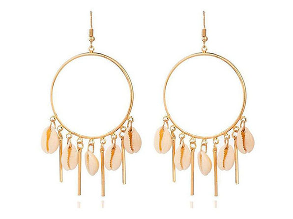 Gold Plated Chandelier Hoop Earrings with Puka Seashells