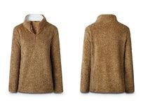 Half Zip Furry Pullover- Brown Medium - Product Image