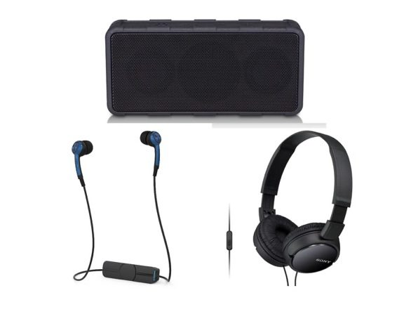 Rugged Wireless Speaker + Bluetooth Earbuds + Sony Headphones Bundle (New Open Box)