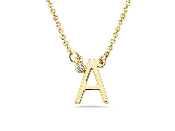 18K Gold Plated CZ Initial Necklaces - A - Product Image
