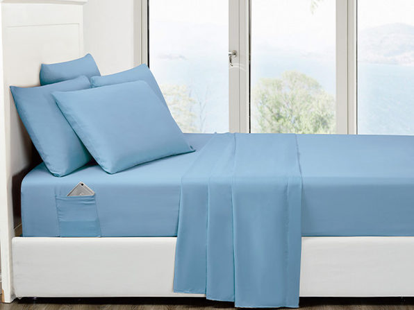 6-Piece Aqua Ultra Soft Bed Sheet Set with Side Pockets King - Product Image