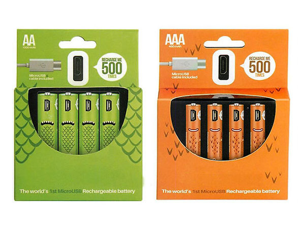 ECO Recharge USB Rechargeable Batteries: 4-Pack