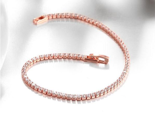 Classic Round Tennis Bracelet Ft. 3mm Swarovski Crystals (Rose Gold)