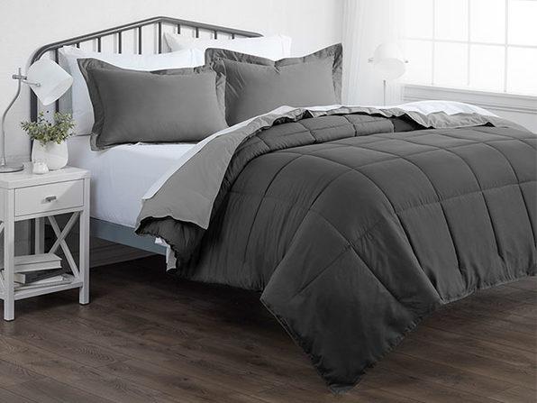 Down Alternative Reversible Comforter Set (Gray & Light Gray/Queen)
