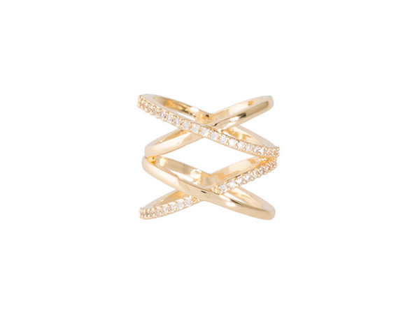 Double X Ring in Gold and Silver