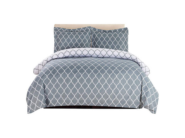 Lux Decor Collection 3-Piece Gray/White Duvet Cover Set