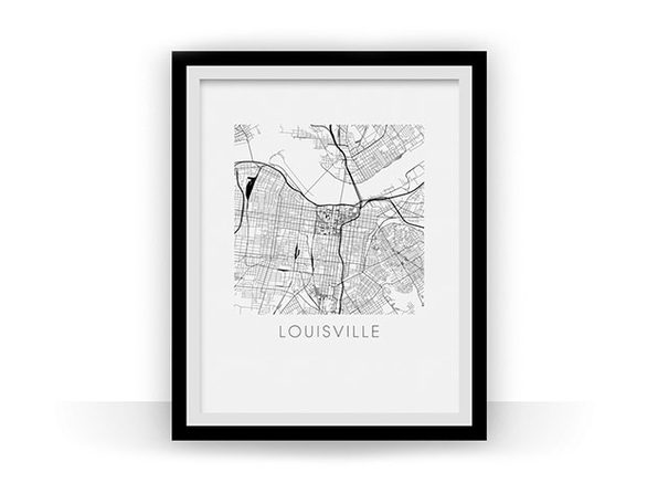 Louisville Black and White Map Print (11 x 14) - Product Image