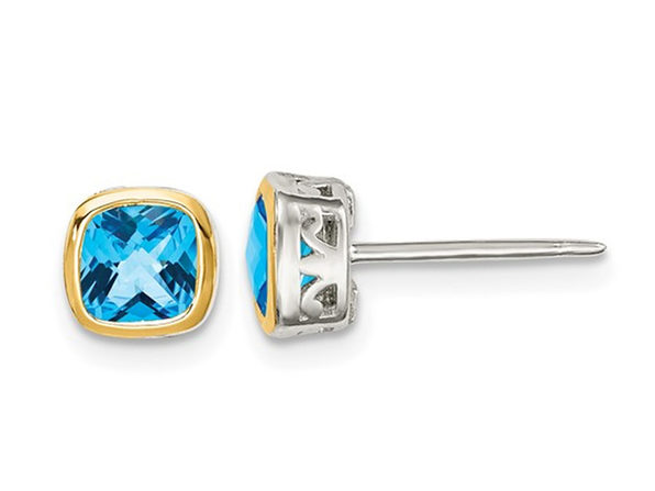 1.70 Carat (ctw) Blue Topaz Stud Earrings in Sterling Silver with Yellow Accent