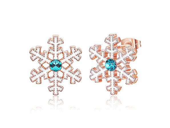 Blue Swarovski Snowflake Stud Earrings (Rose Gold)