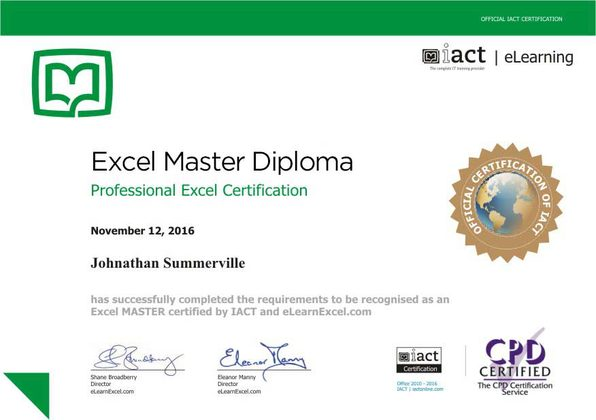 Excel master diploma