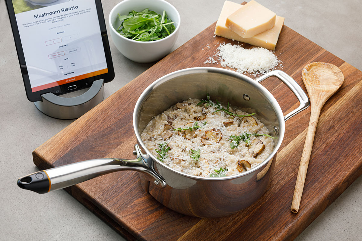 A smart pot with risotto in it