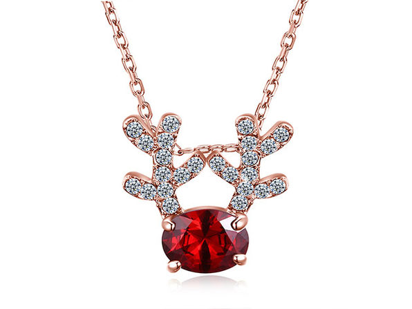 Reindeer Pendant Necklace Ft. Red & Clear Swarovski Crystals (Rose Gold)