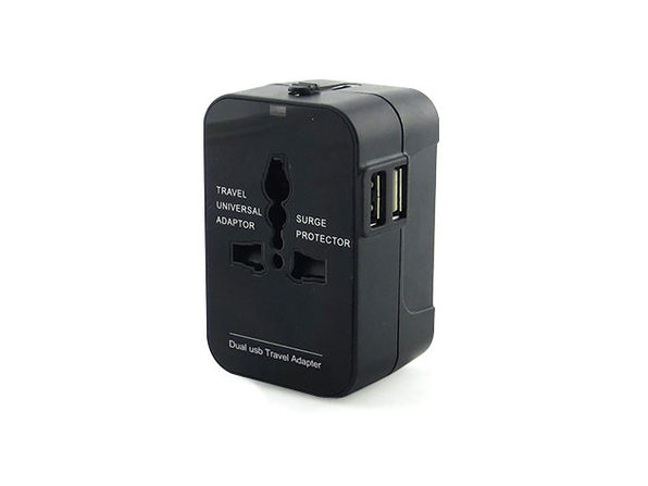Worldwide Power Adapter and Travel Charger with Dual USB Ports - Black - Product Image