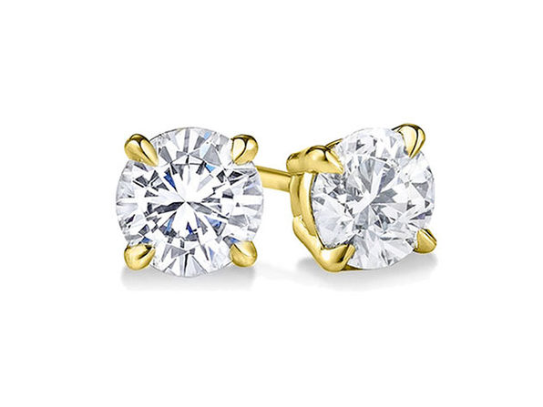 Yellow Gold Sterling Silver 4-Prong Diamond Stud Earrings (5mm)