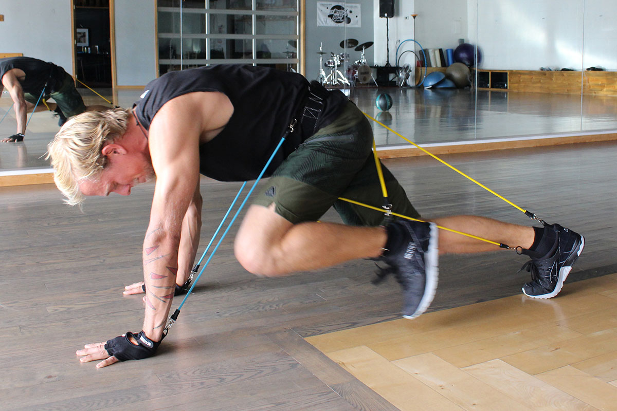 A person using resistance bands