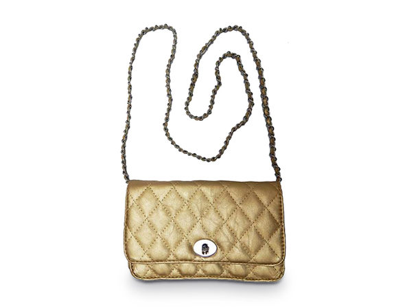 Quilted Maxi Shoulder Bag - Gold - Product Image