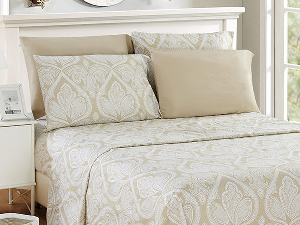 Paisley Microfiber Sheet Set (Ivory/Full)