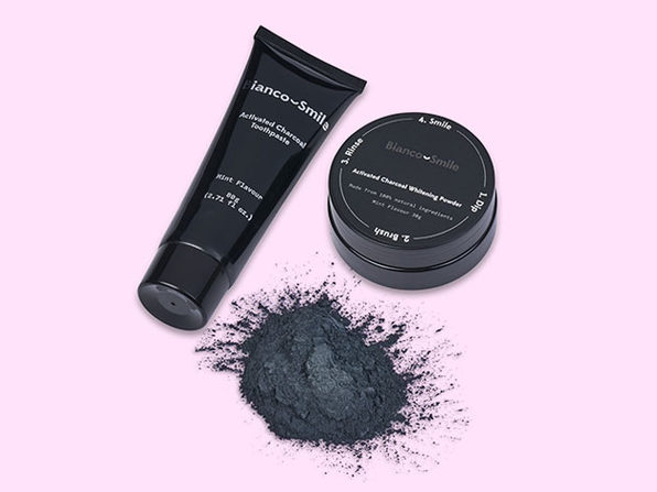 Bianco Smile Activated Charcoal Teeth Whitening Pack: Whitening Powder + Toothpaste