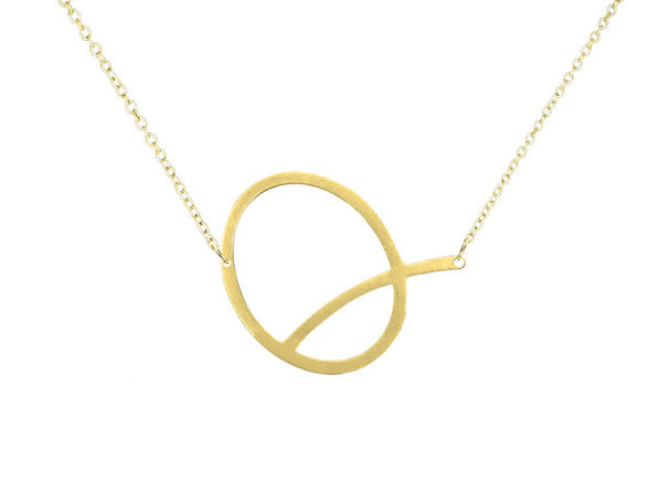 14K Gold Plated Letter Necklace - Q - Product Image