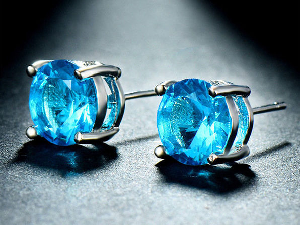"0.28"" Birthstone Stud Earrings Made with Swarovski Crystals (Blue Topaz)"