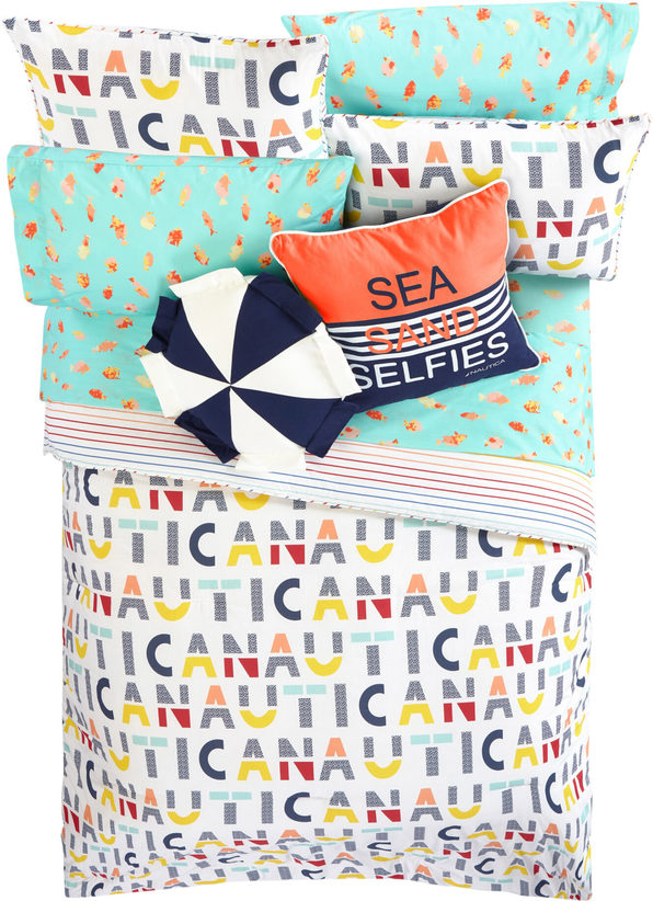Nautica Kids Reversible Nautica Letters 100% Fine Imported Cotton Comforter Set - Twin