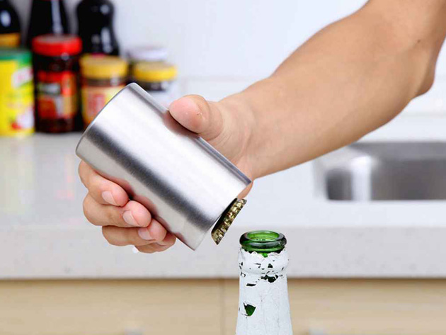 Pry bottle caps off with ease with this magnetic bottle opener