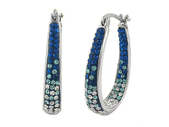 8430dde8cf018 Mini Montana Blue Graduated Swarovski Elements Crystal Hoops | Joyus