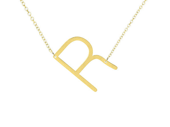 14K Gold Plated Letter Necklace - R - Product Image