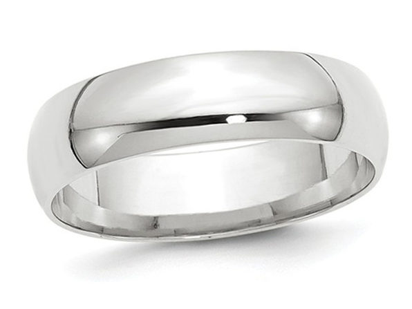 Mens or Ladies 10K White Gold 6mm Comfort Fit Wedding Band - 14