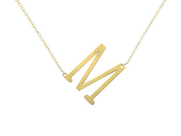"""18K Gold Plated Letter """"M"""" Necklace"""