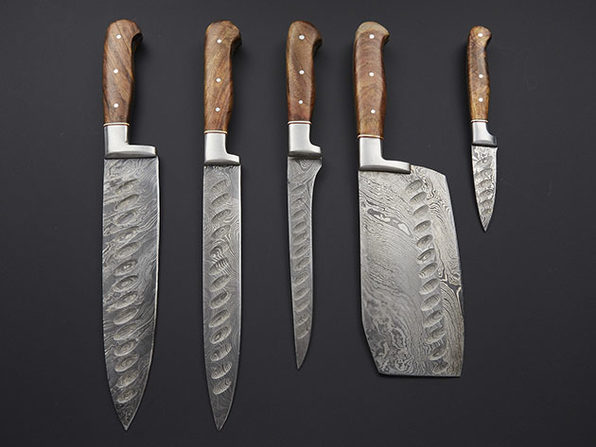 Pro Chef's Knives with Henkel Rosewood + Special Burl: Set of 5