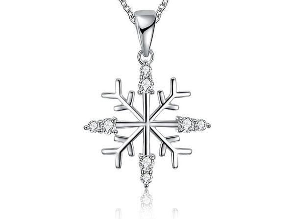 White Swarovski Abstract Snowflake in 14K White Gold Plating