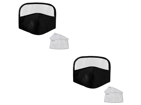 Black Cotton Face Mask with Eye Shield & Filters (2-Pack)