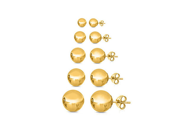 5 Pairs Multi-sized Ball Stud Earrings Gold - Product Image