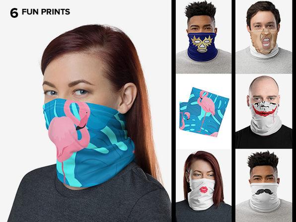 Reusable Fun Face Cover / Neck Gaiter (Flamingo)