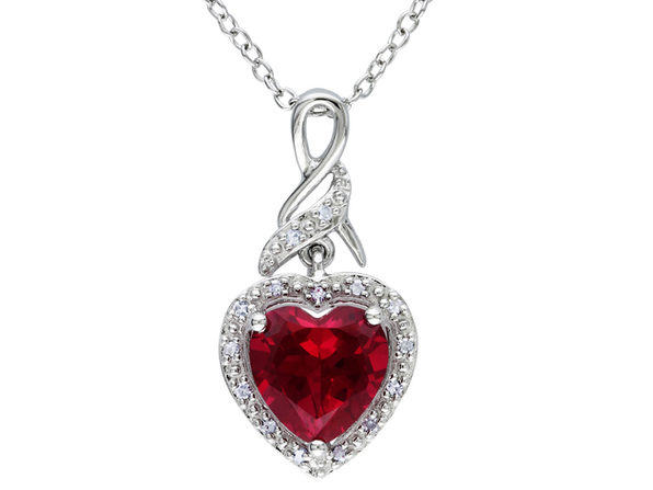 2.80 Carat (ctw) Lab-Created Ruby Heart Pendant Necklace with Diamonds in Sterling Silver with chain