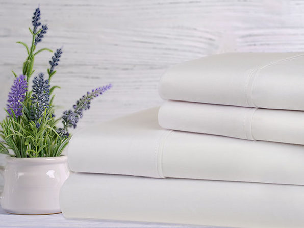 Bamboo 4-Piece Lavender Scented Bed Sheets - King - White - Product Image