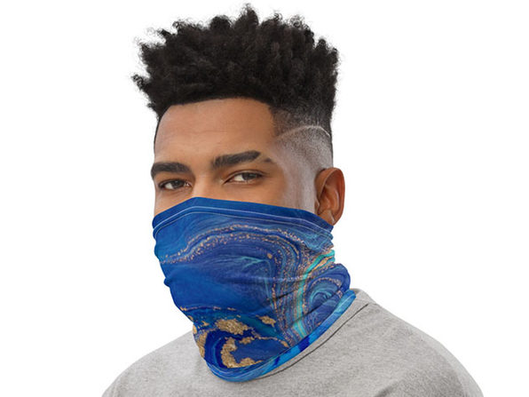 Reusable Cool Face Cover / Neck Gaiter (Blue Liquid Marble)