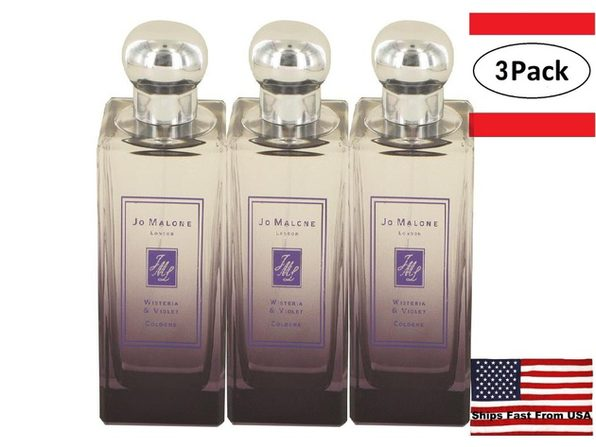 3 Pack Jo Malone Wisteria & Violet by Jo Malone Cologne Spray (Unisex Unboxed) 3.4 oz for Women