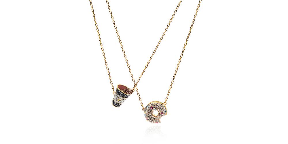 Swarovski Goldtone Multicolored Crystal 2-Piece Necklace Set,
