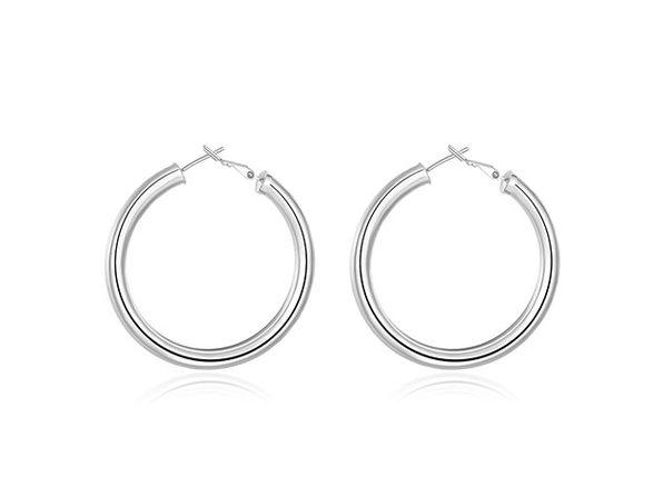 """2"""" 18K Gold Plated Tube Hoop Earrings (Silver)"""