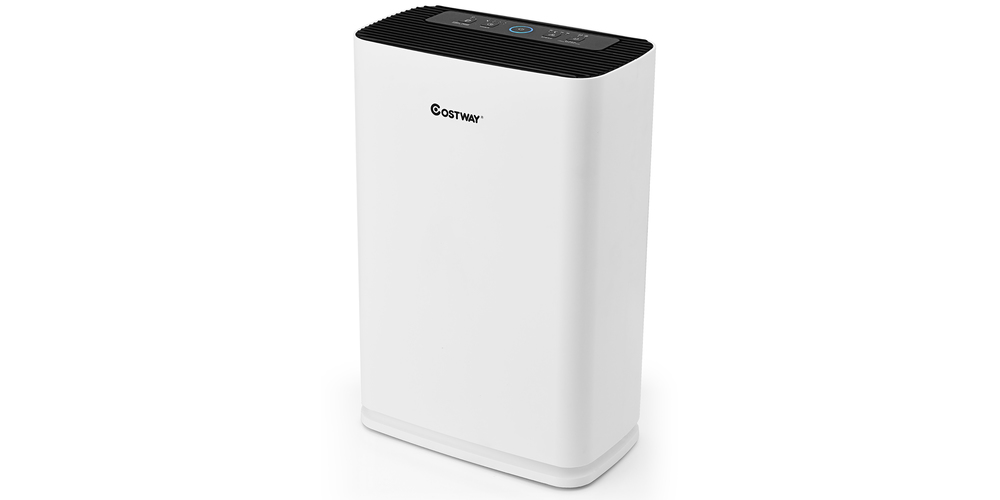 Costway Air Purifier True HEPA Filter Carbon Filter Air Cleaner Home Office 800 sq.ft – White, on sale for $172.99 (33% off)