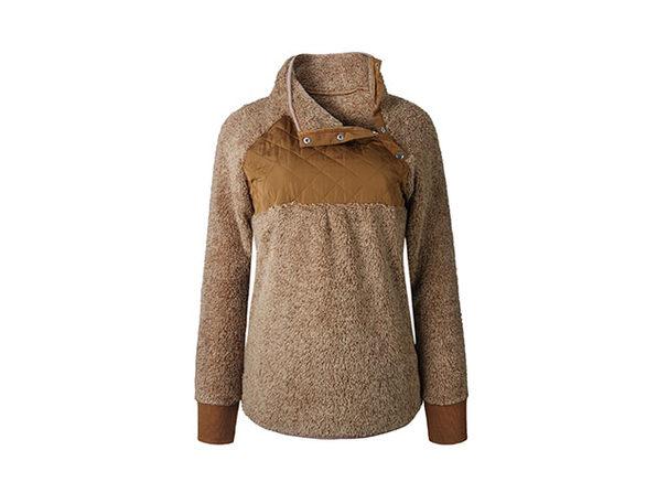 Asymmetrical Neck Mixed Media Fleece (Brown)