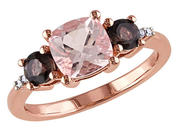 Morganite and Smokey QuartzThree Stone Ring 2.14 Carat (ctw) with Diamonds in Rose Sterling Silver - 10