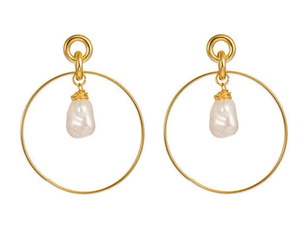 Drop Hoop Earrings Gold Plated with Simulated Pearl Drop - Product Image