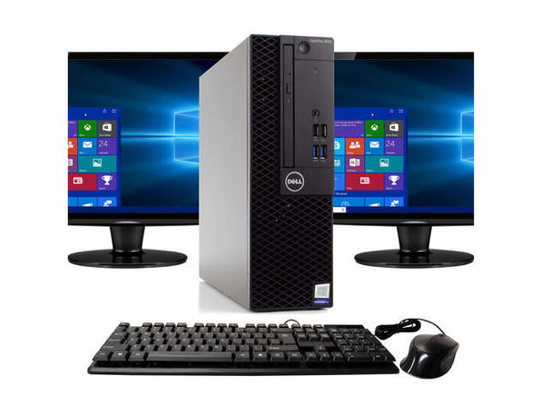 "Dell Optiplex 3050 Desktop PC, 3.2GHz Intel i5 Quad Core Gen 7, 8GB RAM, 512GB SSD, Windows 10 Professional 64 bit, Dual (2) NEW 24"" Screens Screen (Renewed)"