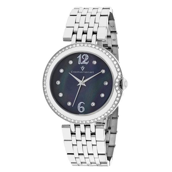 Christian Van Sant Women's Jasmine Black MOP Dial Watch - CV1611